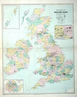 BRITISH ISLES PARLIAMENTARY MAP,Stanford London Atlas Large Antique Map c1895