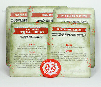 BLOOD BOWL LTD ED Tournament BLITZMANIA SPECIAL PLAY CARDS x5 & TOKEN (GW 17)