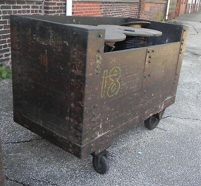 Industrial Equipment Cart Wood Movable w/Casters. Warehouse Utility Cart.
