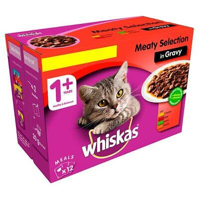 Whiskas Meat in Gravy Wet Adult 1+ Cat Food Pouches 4 x 12 x 100g