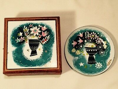 2 MID CENTURY Modern Enamel on Copper Dish Box Bouquet SIGNED Thelma WINTER NEAT