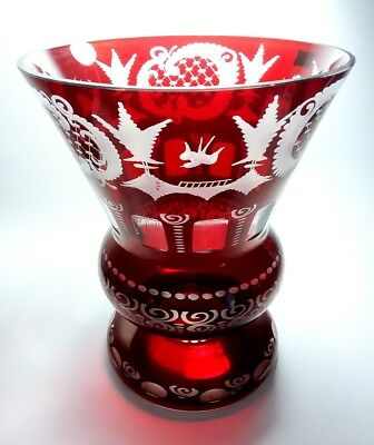 Big Vintage BOHEMIAN GLASS VASE Ruby Etched Cut to Clear Czech Repub EGERMANN