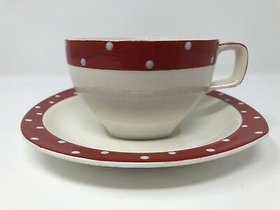 Midwinter Red Domino Polka Dot Tea Cup & Saucer Jessie Tait