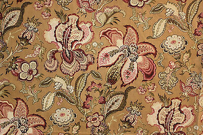 Fabric Antique French block printed Indienne STUNNING floral c1870 upholstery