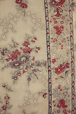 Fabric Antique French block printed chintz glazed textile circa 1820 2.94 yards