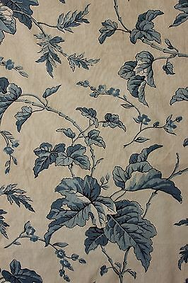Chintz Fabric Block printed c1850 antique French blue & white woodblock print
