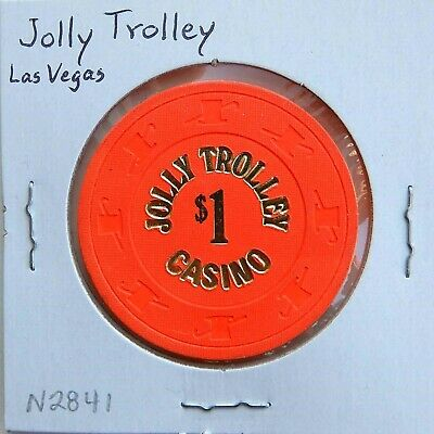 Vintage $1 chip from the Jolly Trolley Casino (1981) Las Vegas