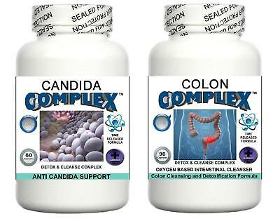 Candida Colon Complex Detox Cleanse Pills IBS Bloating Digestive System Cleanser
