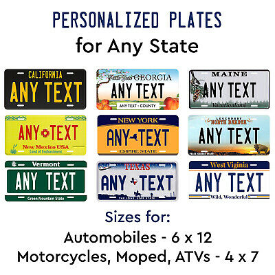 Personalize Custom License Plate Tag for Any State Auto Car Motorcycle ATV Moped