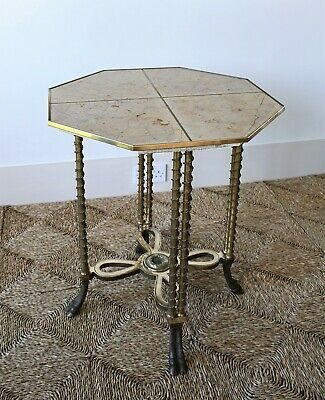 Smart French Adam Weisweiller Style Gueridon Marble Brass Hall Side Centre Table