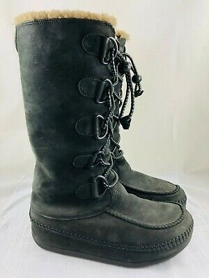 c7a690315 FitFlop Tall Mukluk Moc 2 Black Suede Size 8 Shearling Lined Boots 456-090