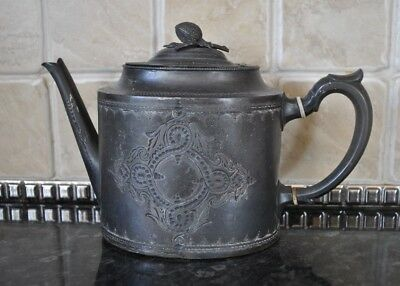Ornate Pewter Teapot Bud Handle 1880-1900s Shaw & Fisher Sheffield Antique