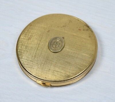 Vintage Collectible Brass Powder Compact Box with Mirror Empty Shell Deco Art