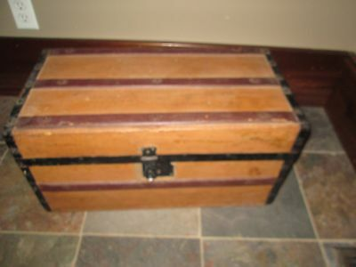 Child's  Antique Wood Trunk METAL STRAPS WOOD HANDLES FLAT TOP 24 INS WIDE