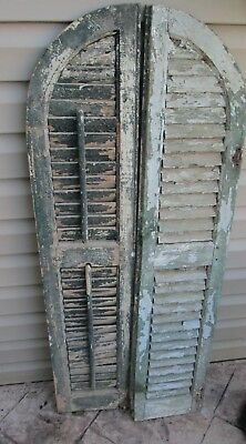 2  Vtg Arch Top Dome Louvered Shutters arched antique green wood