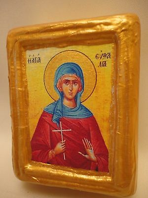 Saint Euthalia Efthalia Byzantine Greek Eastern Orthodox Wooden Icon Block
