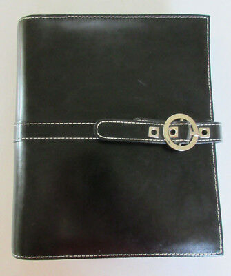 Franklin Covey Planner Organizer Agenda- Black Leather w Silver Buckle