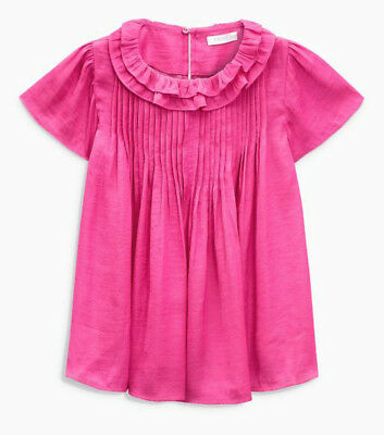 Next Girls Magenta Pleated Top/Blouse Age 7 Years BNWT