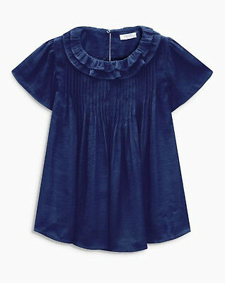 Next Girls Navy Pleated Top/Blouse Age 9 Years BNWT Tag £22