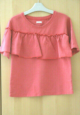 Next Girls Coral Pink Ruffle Top Age 9 Years BNWT