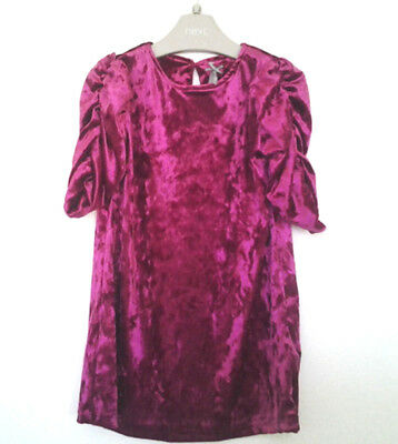 Next Girls Pink Crushed Velvet Rushed Sleeve Dress Age 3 Years BNWT