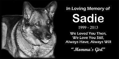 6x12 Granite Pet Grave Marker Memorial Cemetery Plaque