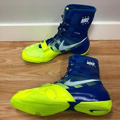75f5f79b969b Limited Edition Nike HyperKO Boxing Boots Shoes Blue Neon Volt Size 12 US 46