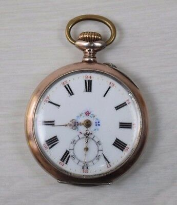 Antique Ottoman Turkish SILVER 800 Gallone Pocket Watch Porcelain Dial Rare