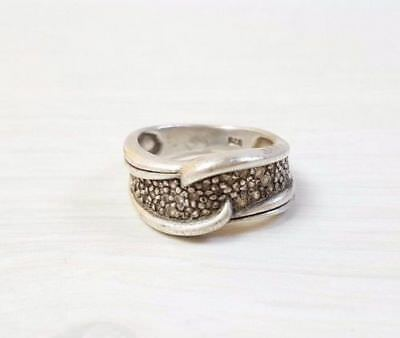 Vintage 925 STERLING SILVER Woman's Designer Ring with Crystals Handmade Size 7