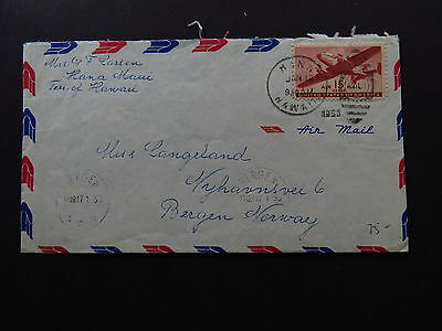 Cover Air Mail United States Hawaii Hana Maui Balloon Stamp Bergen Norway 1953