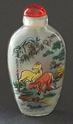Chinese reverse painted glass vintage Art Deco antique scent snuff bottle B