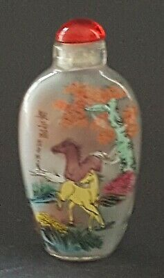 Chinese reverse painted glass vintage Art Deco antique scent snuff bottle A