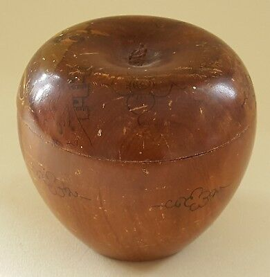 Carved walnut wood vintage Victorian antique apple design box B