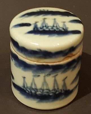 Chinese export blue & white vintage Victorian oriental antique round box B