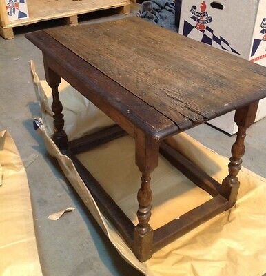 Very Rare 17Th Century Oak Refectory/Dining Table With Stretchers & Turned Legs