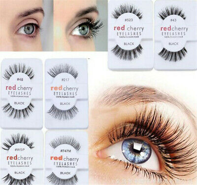 Lashes Red Cherry 100% False Human Hair Eyelashes Makeup Natural Eye Adhesives