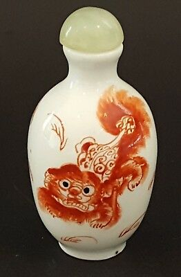 Chinese ceramic vintage pre Victorian oriental antique Dog of Fo snuff bottle
