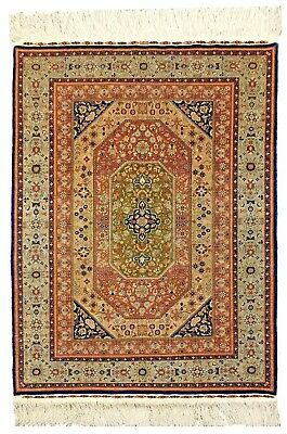 """Extremely fine Turkish Hereke rug %100 Silk & signed with Gold threads 3'5""""x4'5'"""