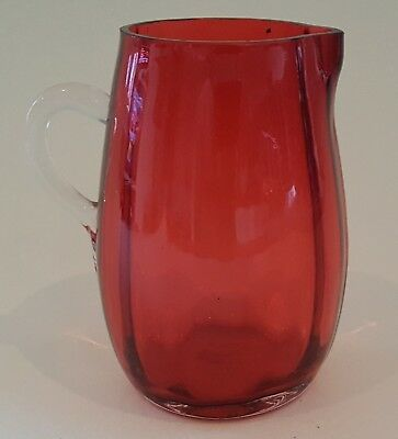 Cranberry red glass vintage Victorian antique small jug