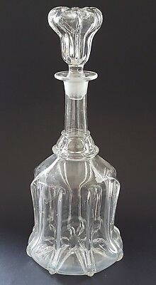 Clear glass vintage Victorian antique rigged mallet shaped claret jug decanter A