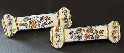 Quimper French faience vintage Victorian antique pair of cutlery rests