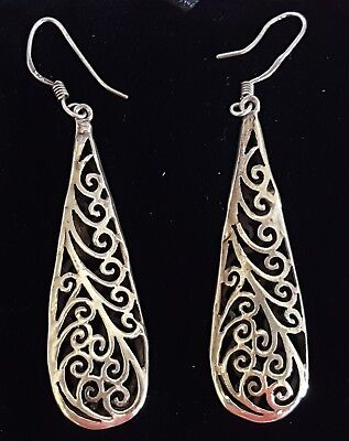 Sterling silver vintage Art Deco antique pair of large dangly earrings