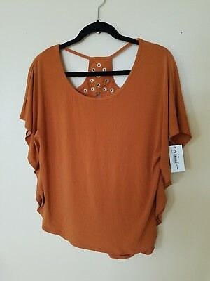 NWT NY COLLECTION Womens Umber/Gold Grommets Stretchy Dress Top Size Medium $50