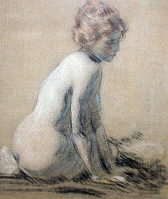 "California Classic Pastel LAWTON PARKER 'Seated Nude', 9"" x 7"""