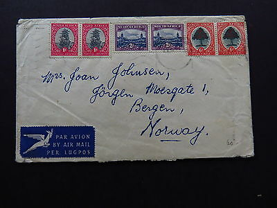 Cover Envelop Air Mail Avion South Africa Zuid Afrika to Bergen Norway 1954