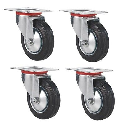 "4 PACK 3"" Swivel Caster Rubber Wheels Top Plate Bearing HEAVY DUTY FREE SHIPPING"