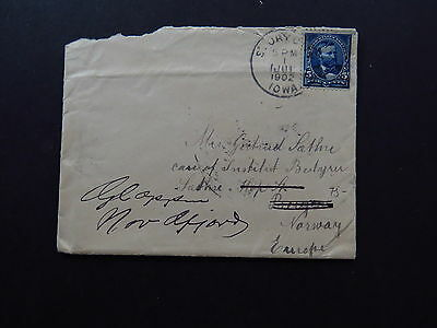 Cover United States Postage America Iowa to Bergen Norway Norge 1902