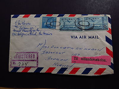 R-Cover Air Mail United States Registered North bend to bergen Norway 1949