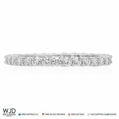 14k Solid White Gold 1Ct Round Cut Created Diamond Eternity Ring Size 5-8