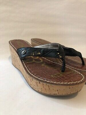 142132120 Sam Edelman Romy Womens Black Flip Flops Sandals Wedge Heels Croc Sz US 13  332